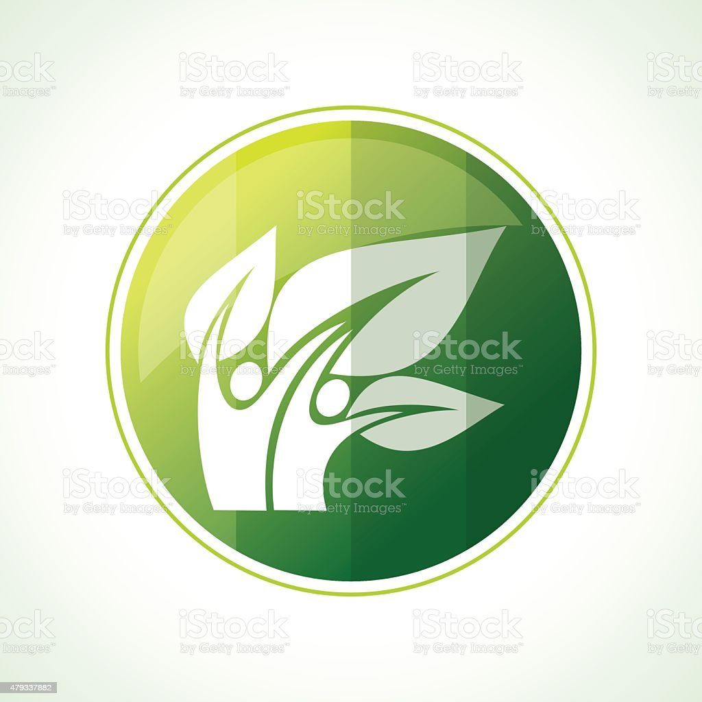 Ecology icons with green leaves in vector vector art illustration