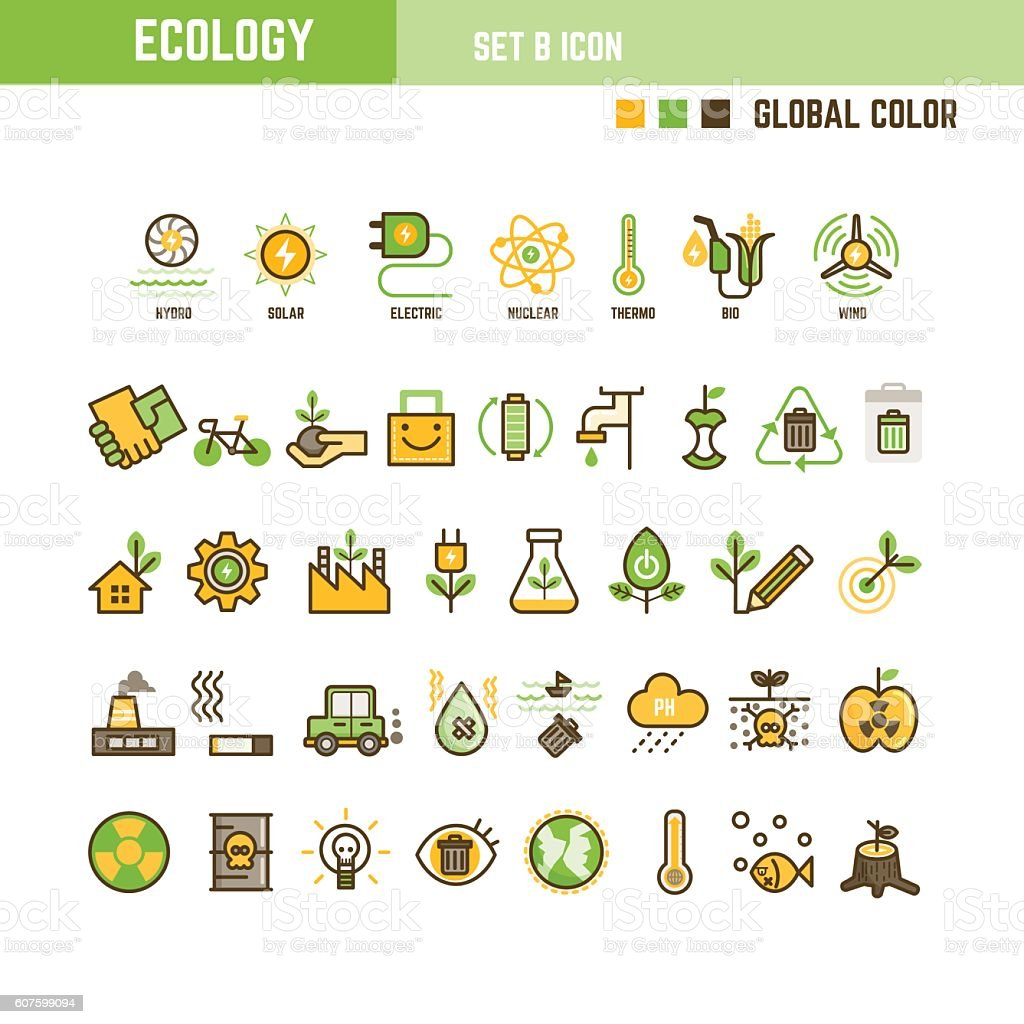 Ecology infographic element set of outline icon vector art illustration