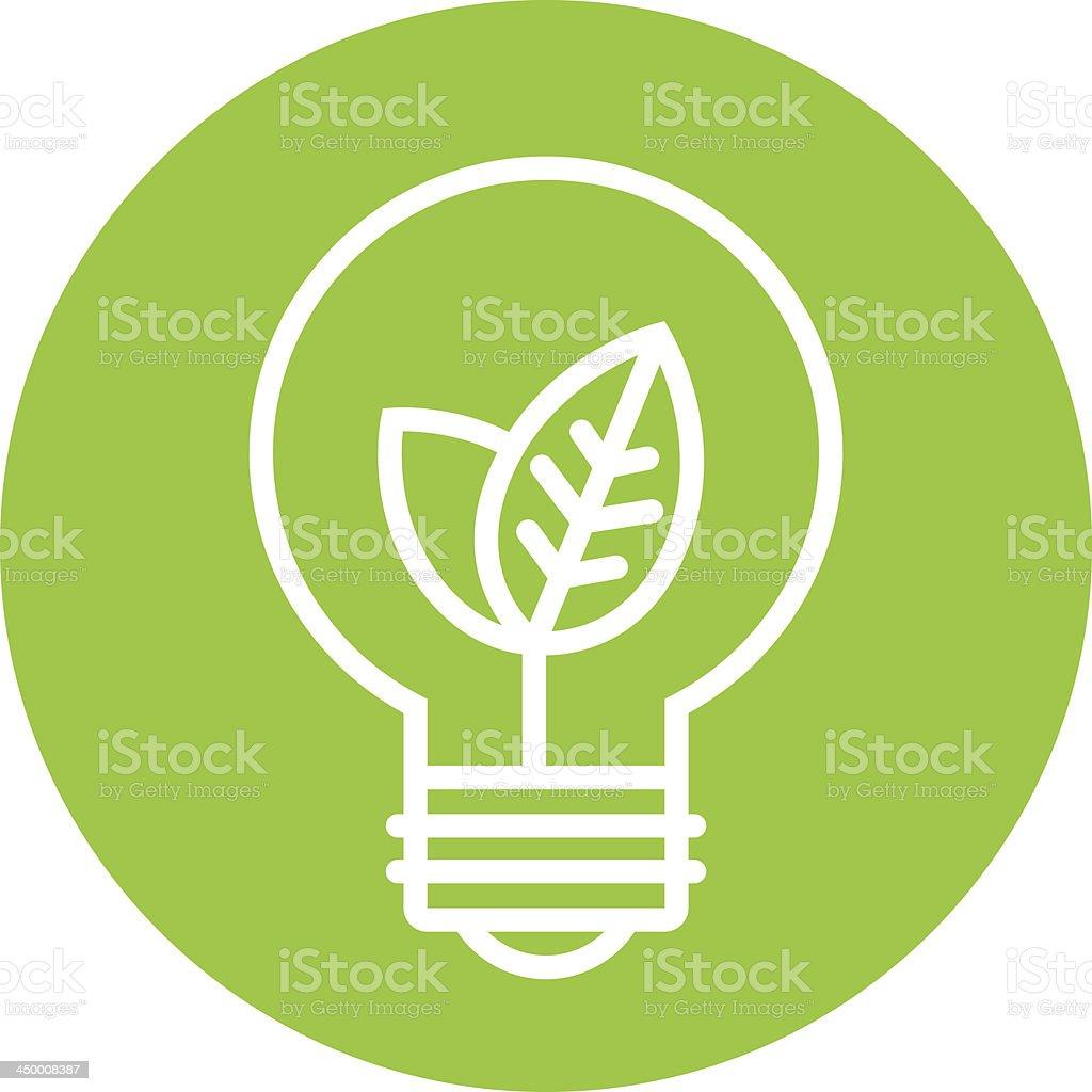 Ecology light bulb icon in green circle vector art illustration