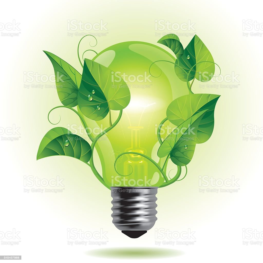 Ecology light bulb vector art illustration