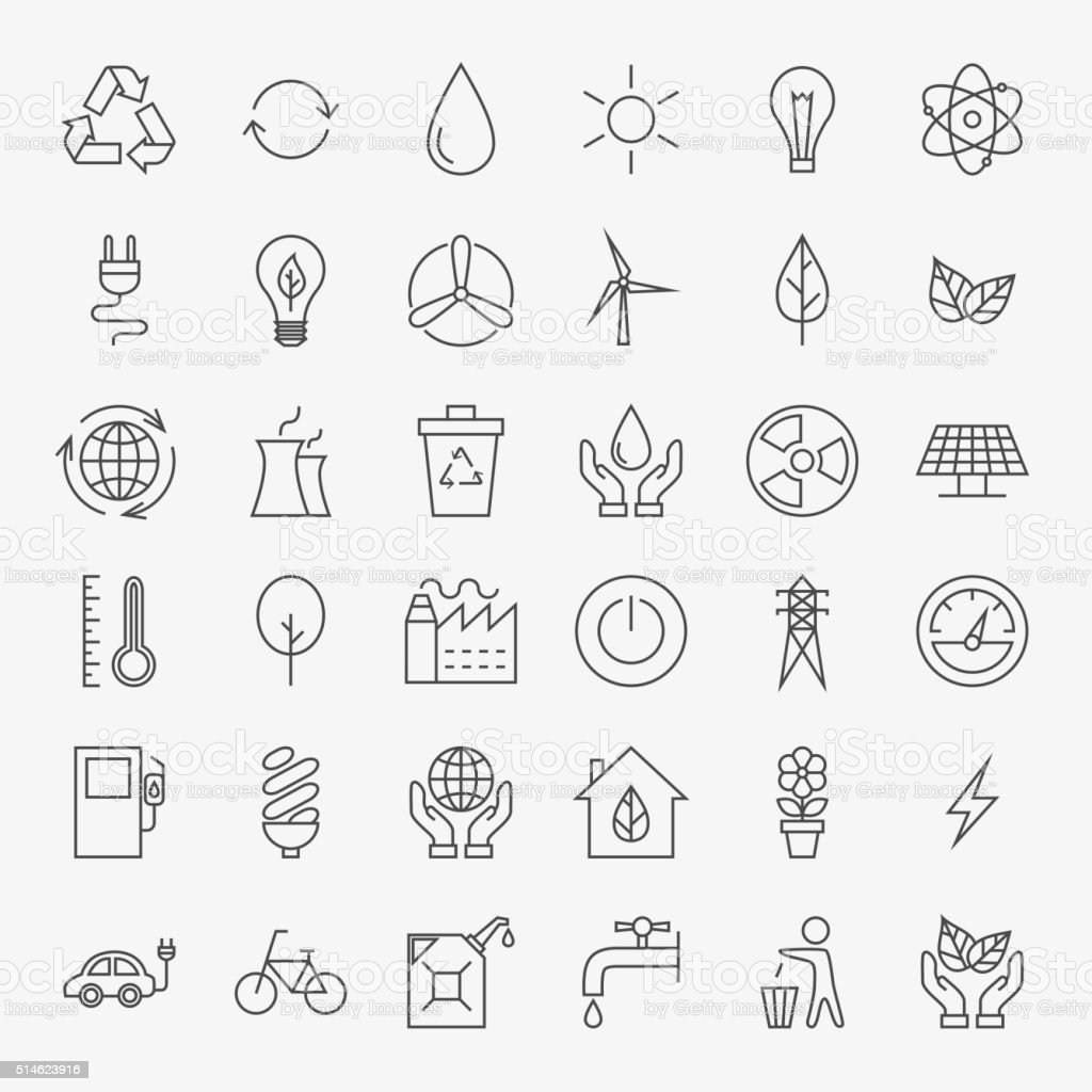 Ecology Line Art Design Icons Big Set vector art illustration