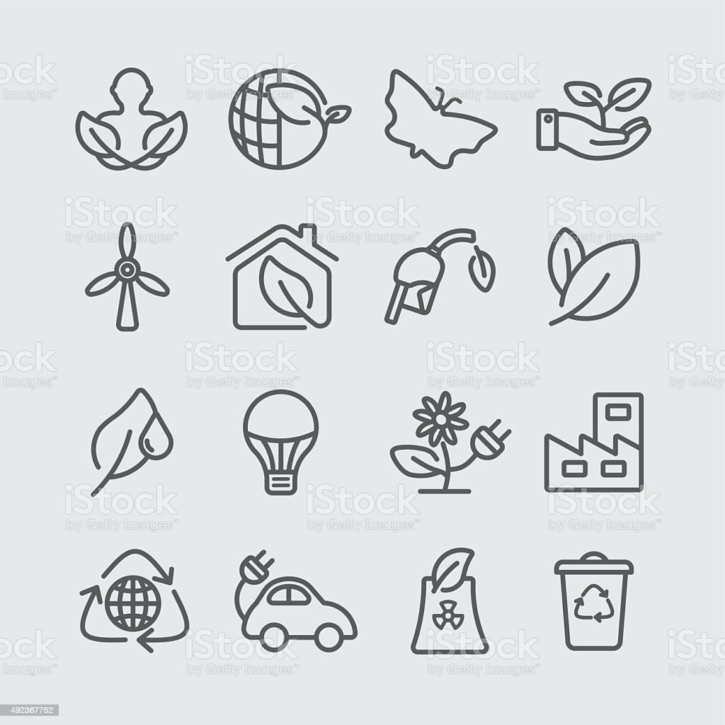 Ecology line icon vector art illustration