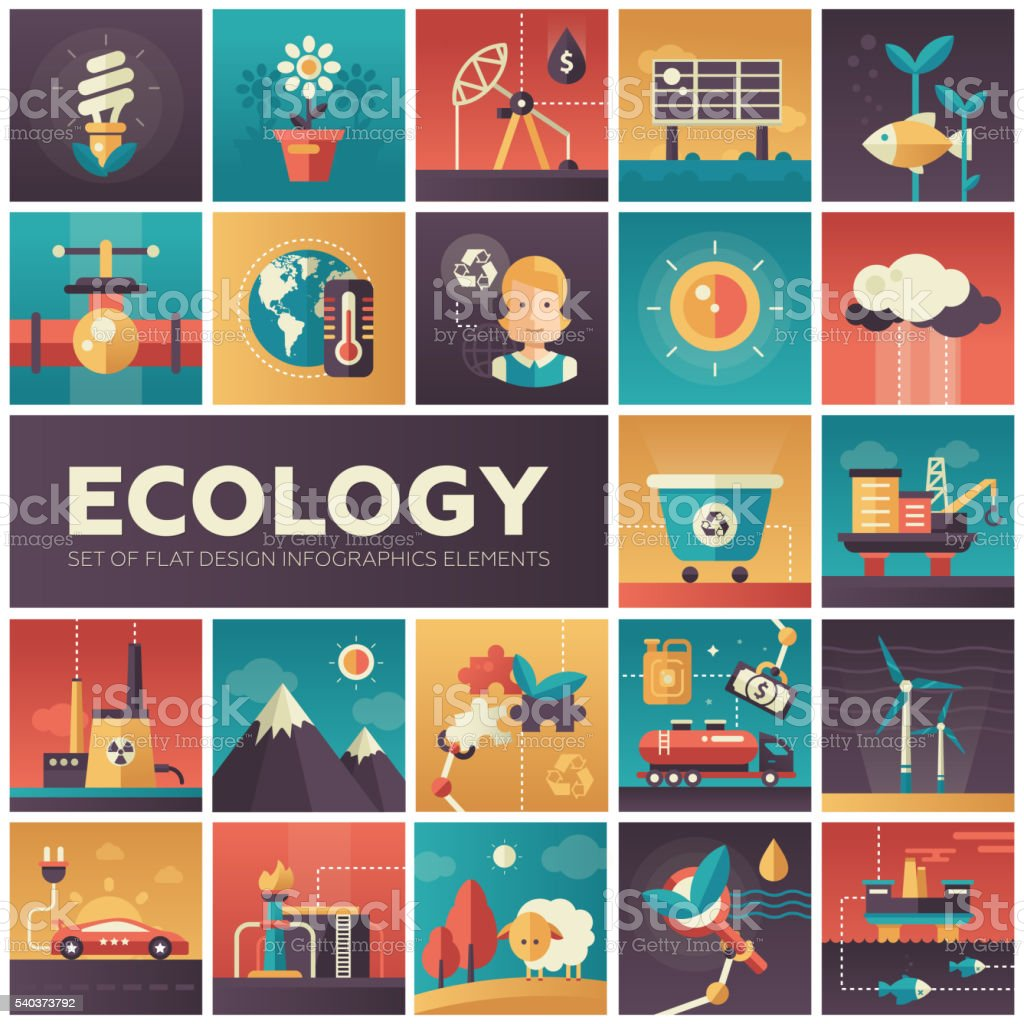 Ecology - modern flat design isquare icons vector art illustration