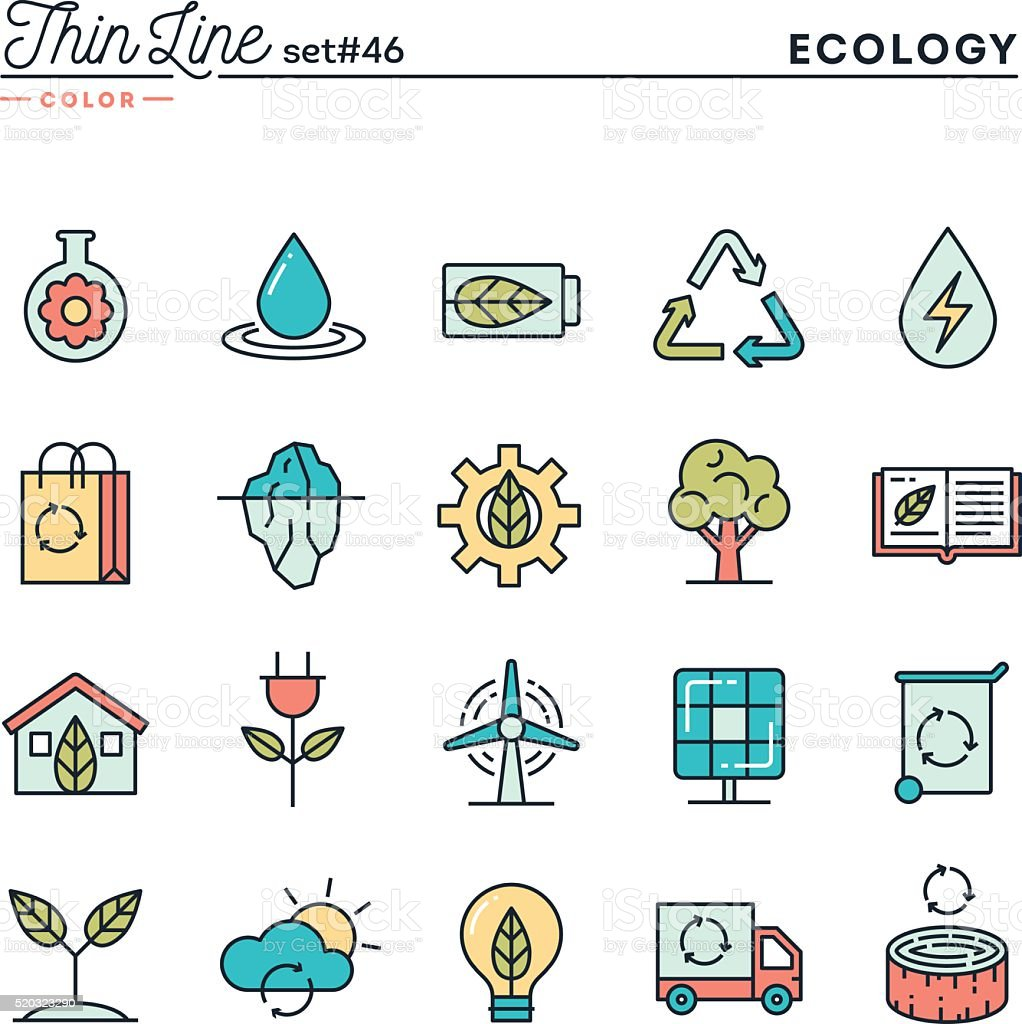 Ecology, nature, clean energy, recycling and more vector art illustration