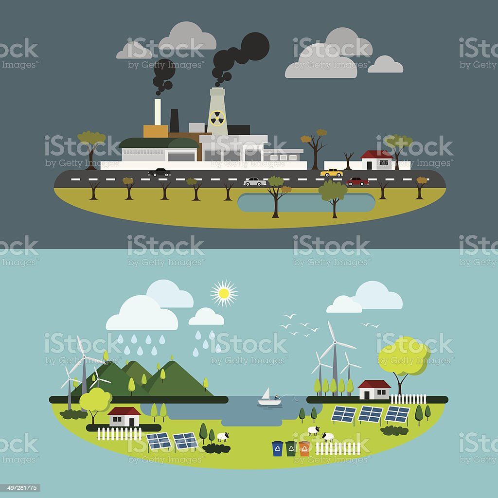 Ecology of city technology and environment conception vector art illustration