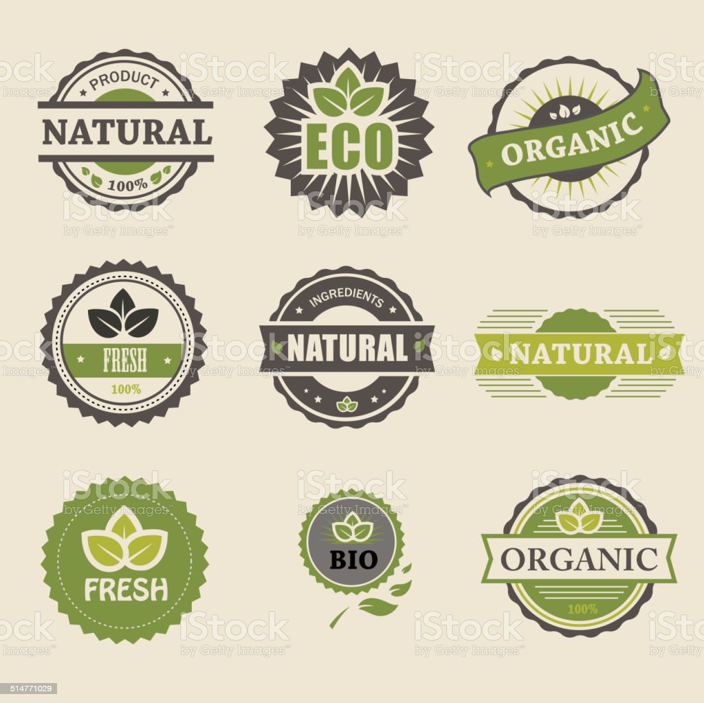 Ecology, organic icon set. Eco-icons vector art illustration