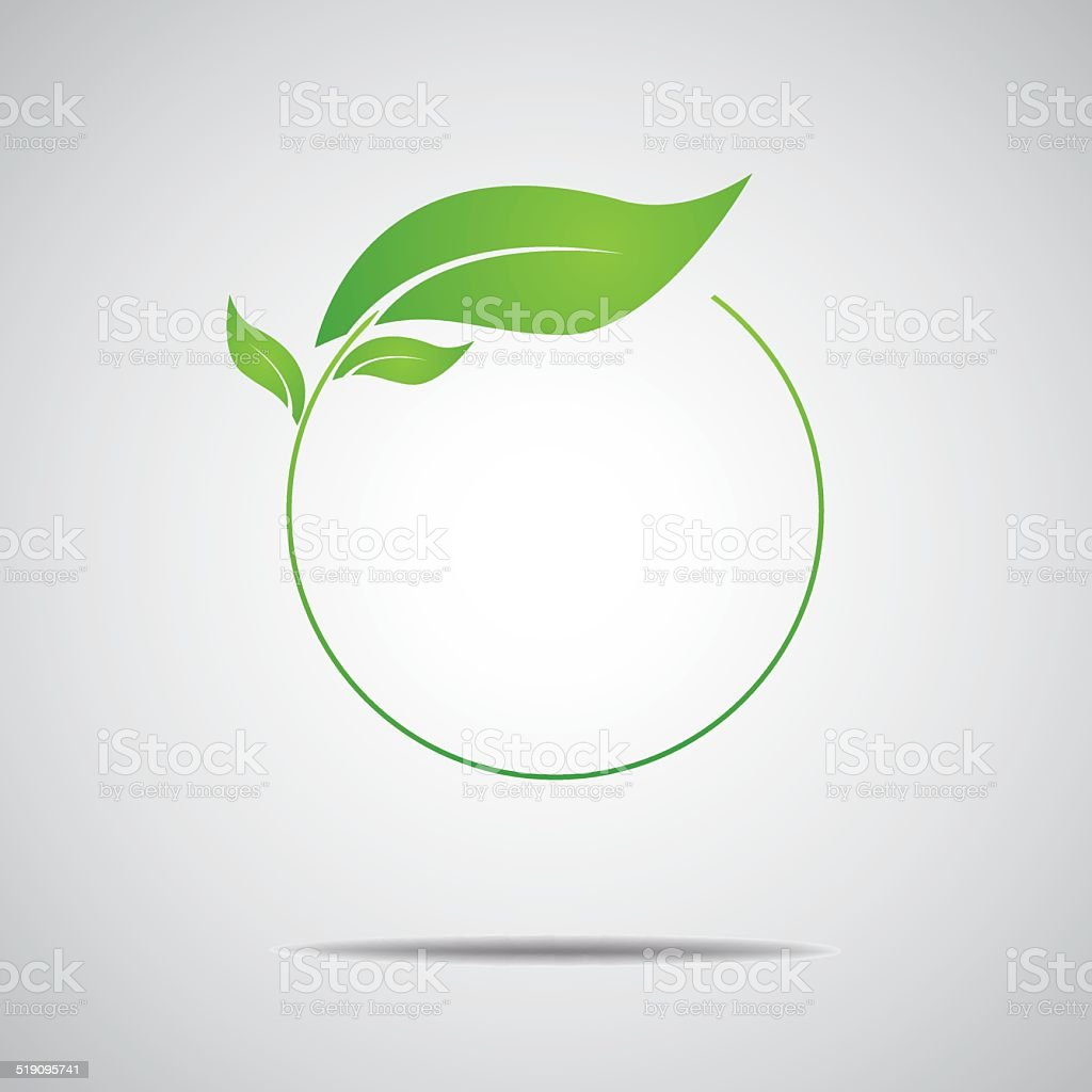 Ecology, organic with leafs vector art illustration