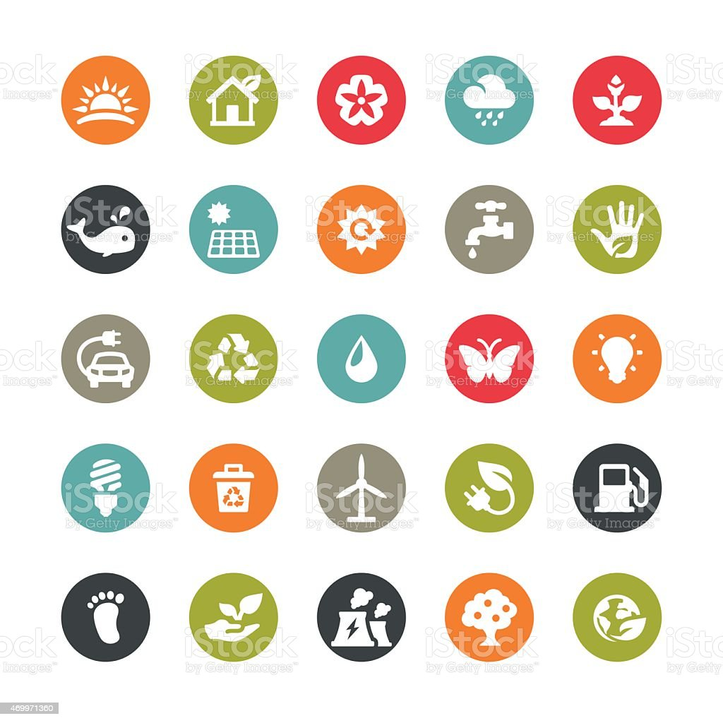 Ecology related vector icons / Ringico series vector art illustration