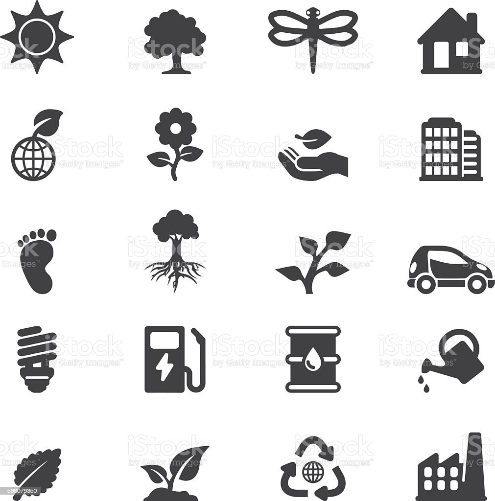 Ecology Silhouette 20 icons | EPS10 vector art illustration