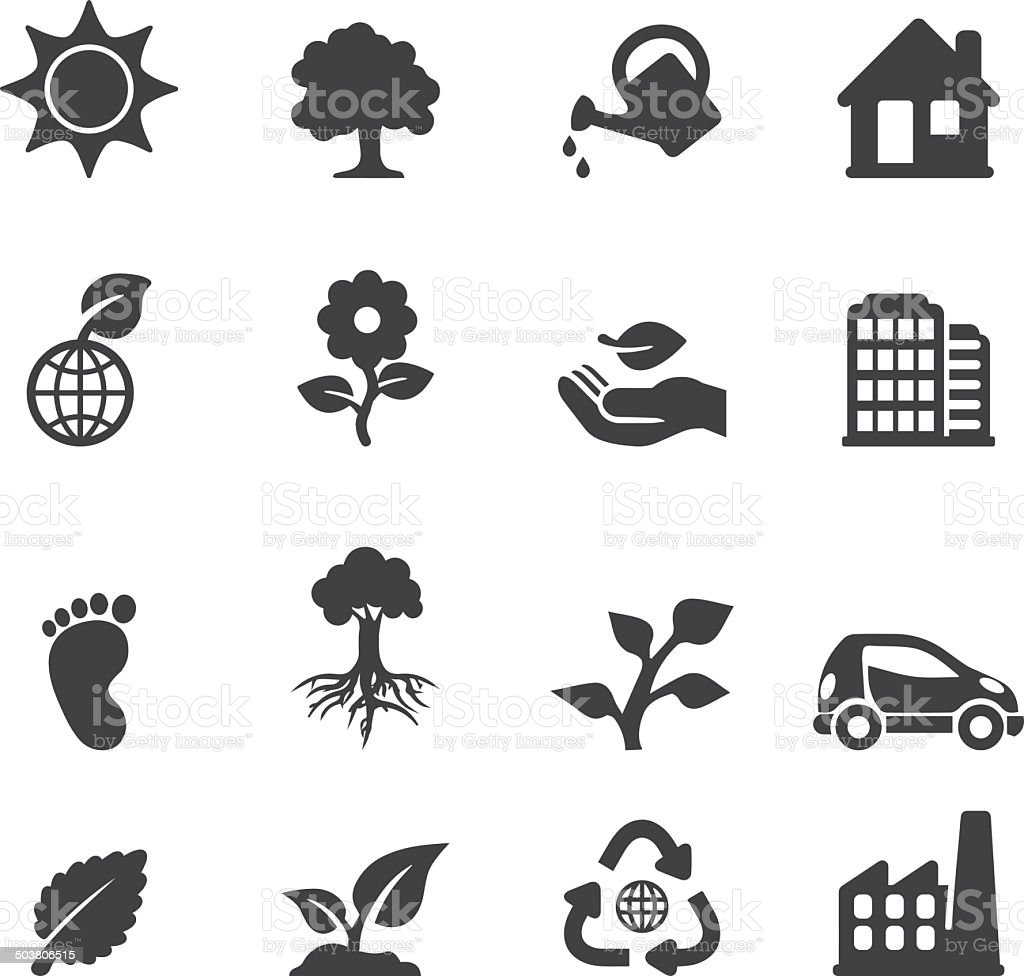 Ecology Silhouette icons | EPS10 vector art illustration