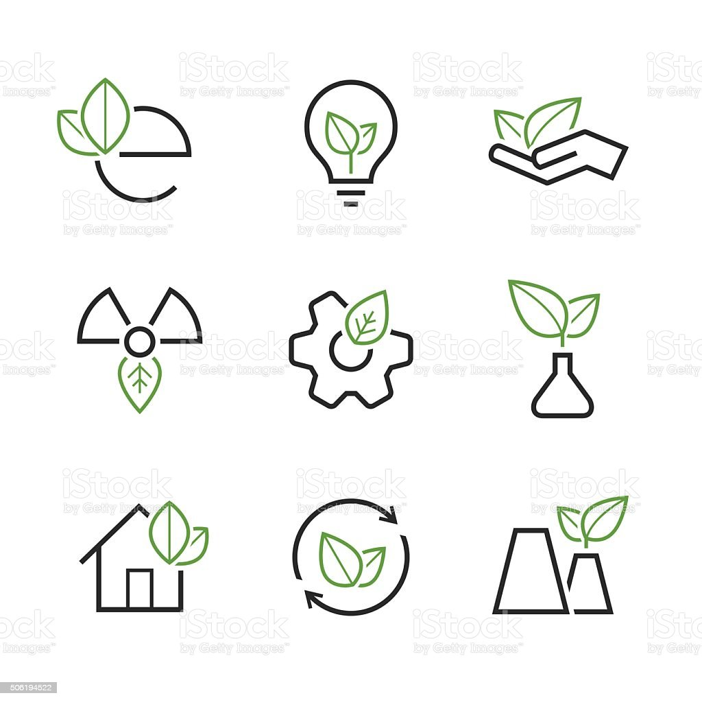 Ecology simple vector icon set vector art illustration