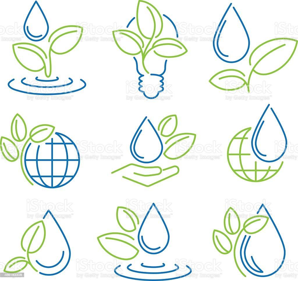 Ecologia símbolo série. Ícones de Eco vetor e ilustração royalty-free royalty-free