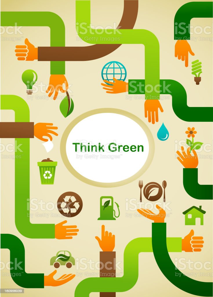 Ecology - Think green background with hands and graphic symbol royalty-free stock vector art
