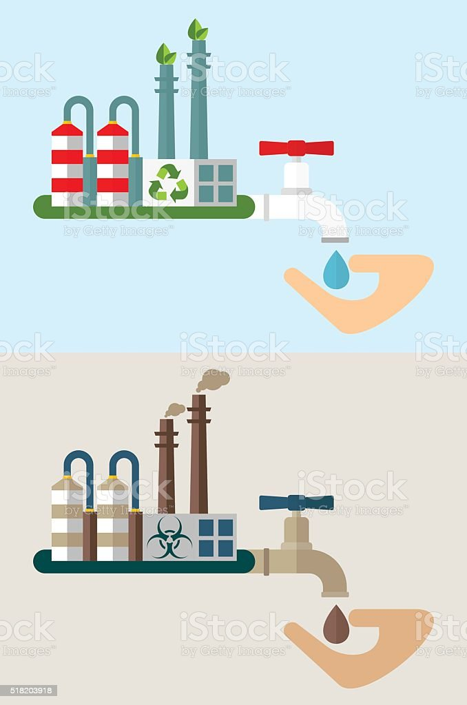 ecology water clean and dirty drinking water vector art illustration
