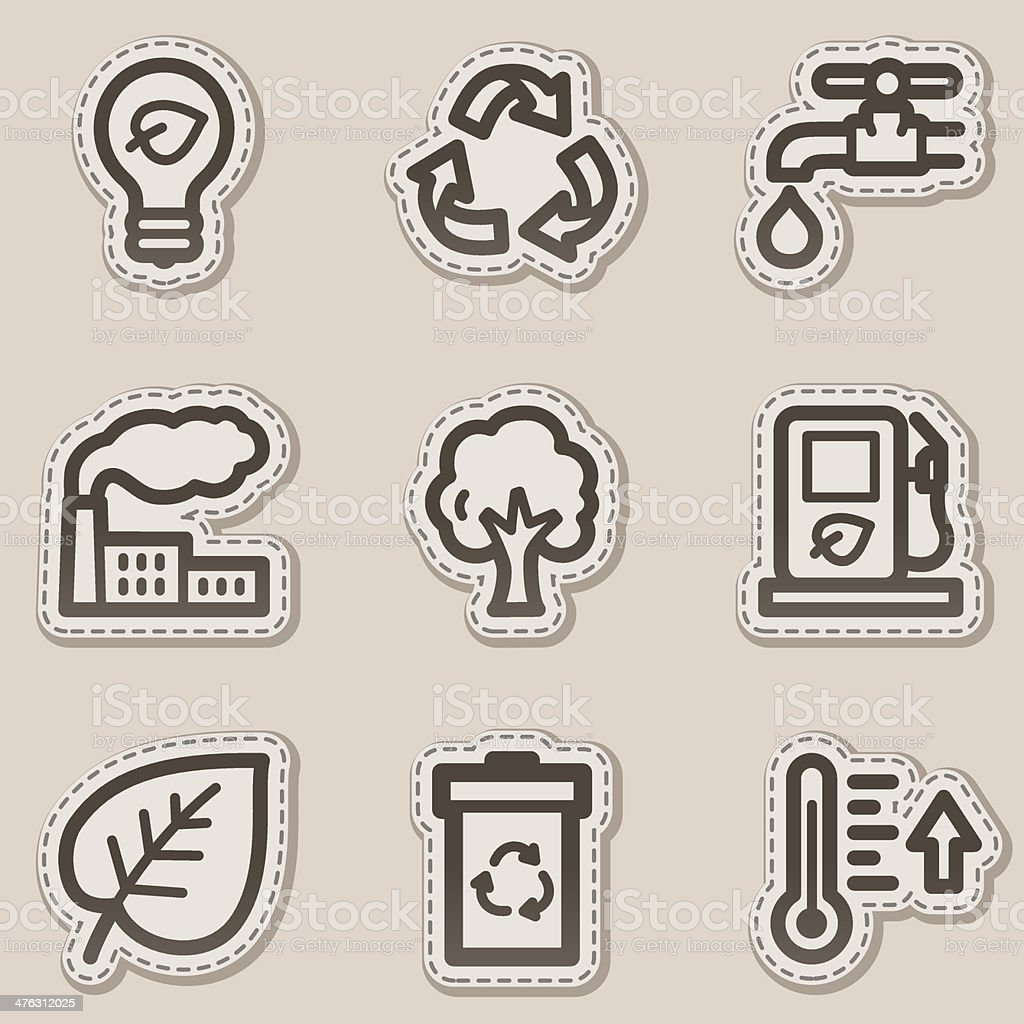 Ecology web icons set 1, brown contour sticker series royalty-free stock vector art