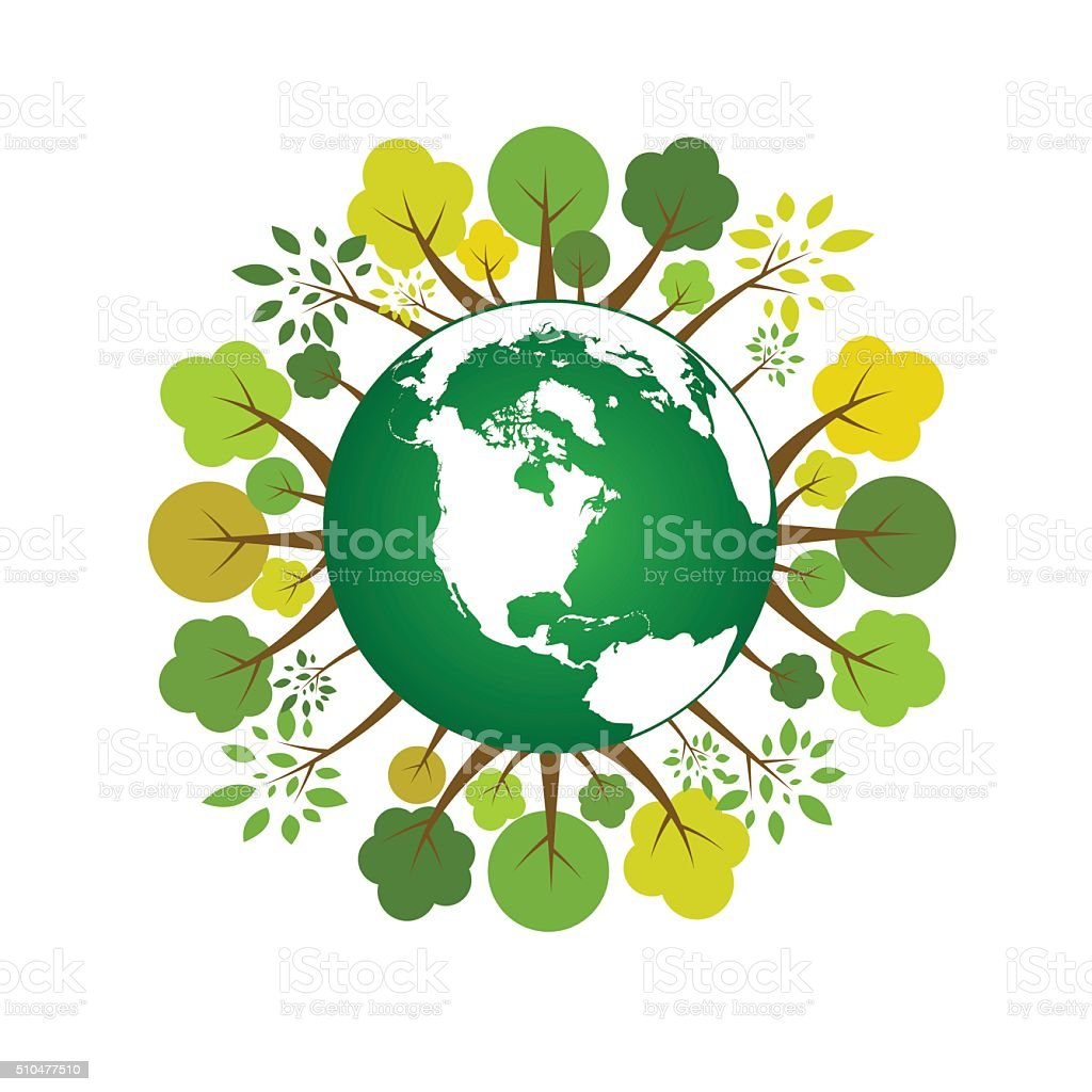 Ecology world with forest around concept. vector art illustration