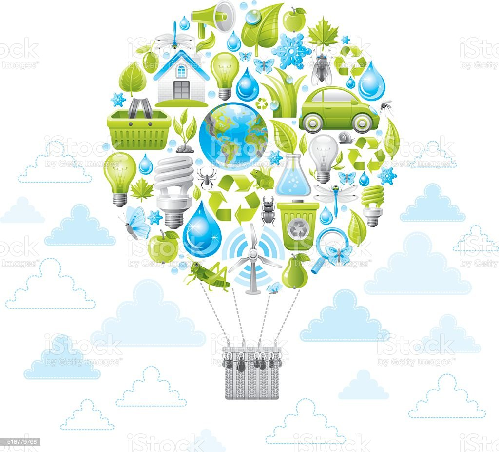 Ecologycal concept with the panet loooks like air baloon vector art illustration