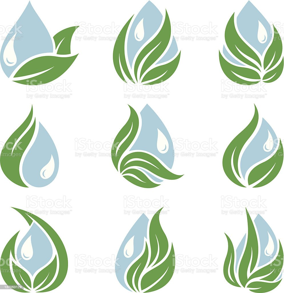 Ecology,drops and leaves royalty-free stock vector art