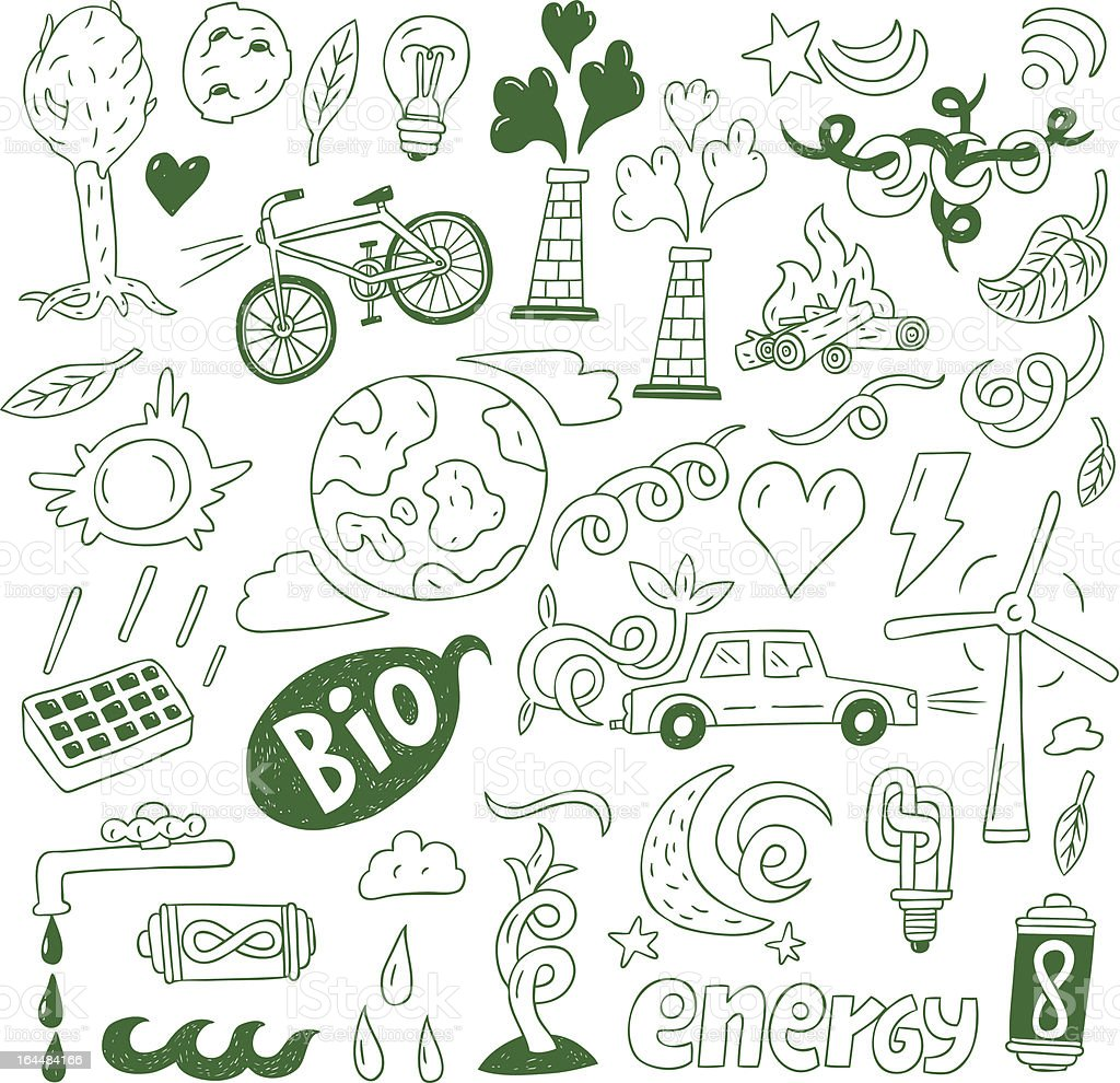 Ecology,nature energy - doodles collection royalty-free stock vector art