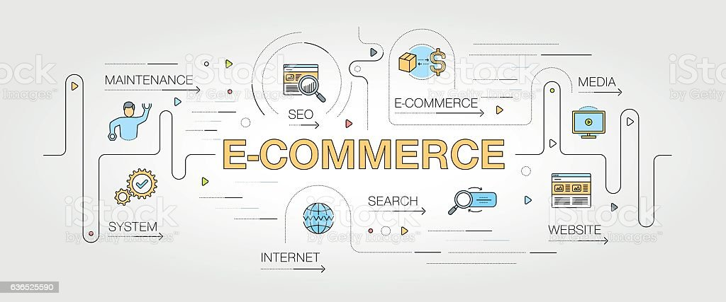 E-Commerce banner and icons vector art illustration