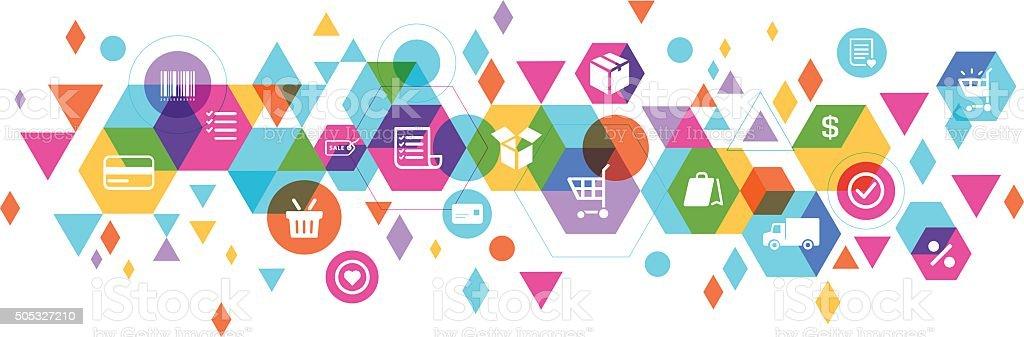 E-commerce composition design vector art illustration