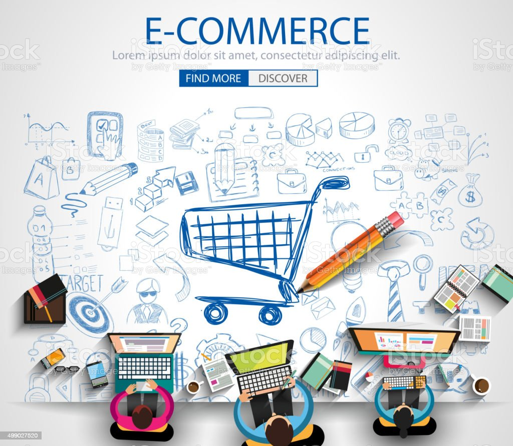 E-commerce Concept with Doodle design style :on line marketing vector art illustration