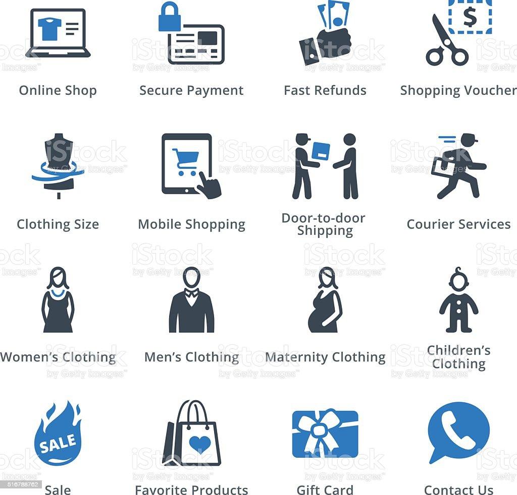 E-commerce Icons Set 1 - Blue Series vector art illustration