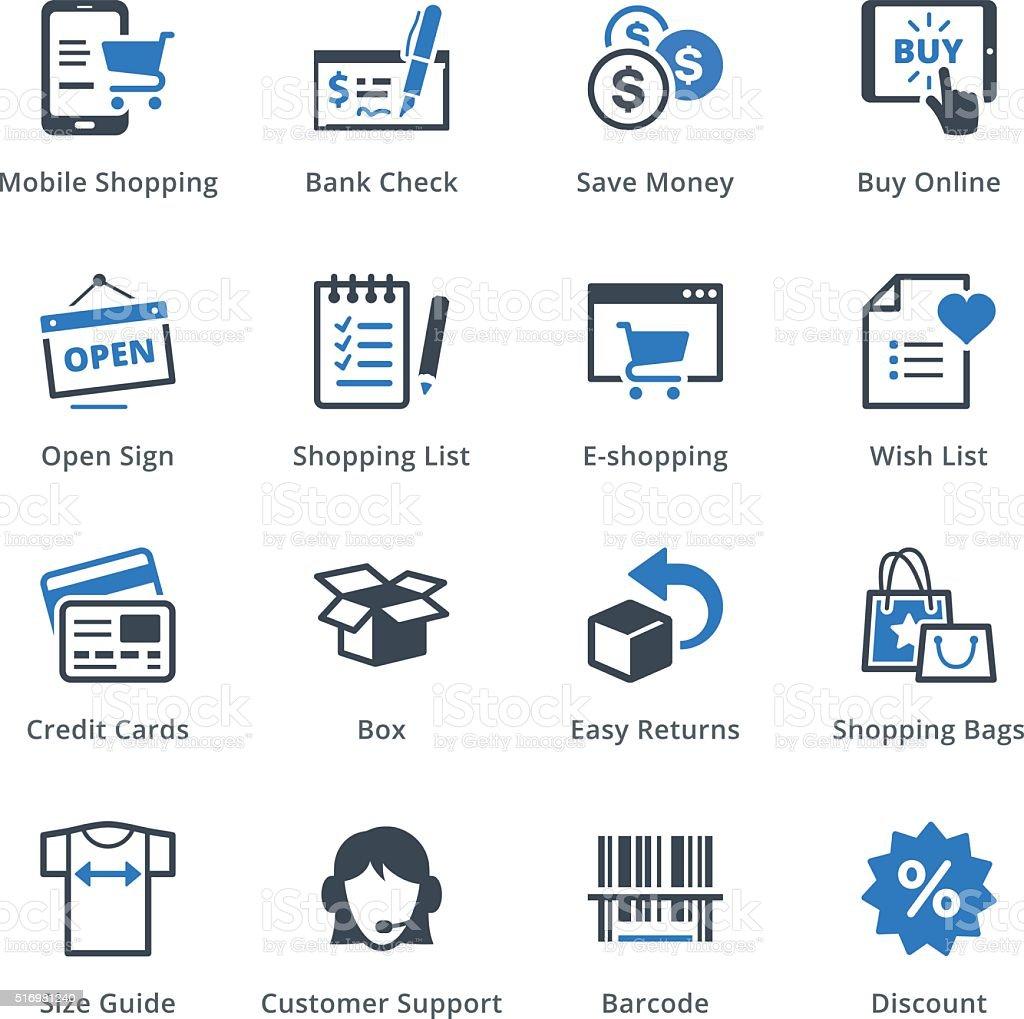 E-commerce Icons Set 3 - Blue Series vector art illustration