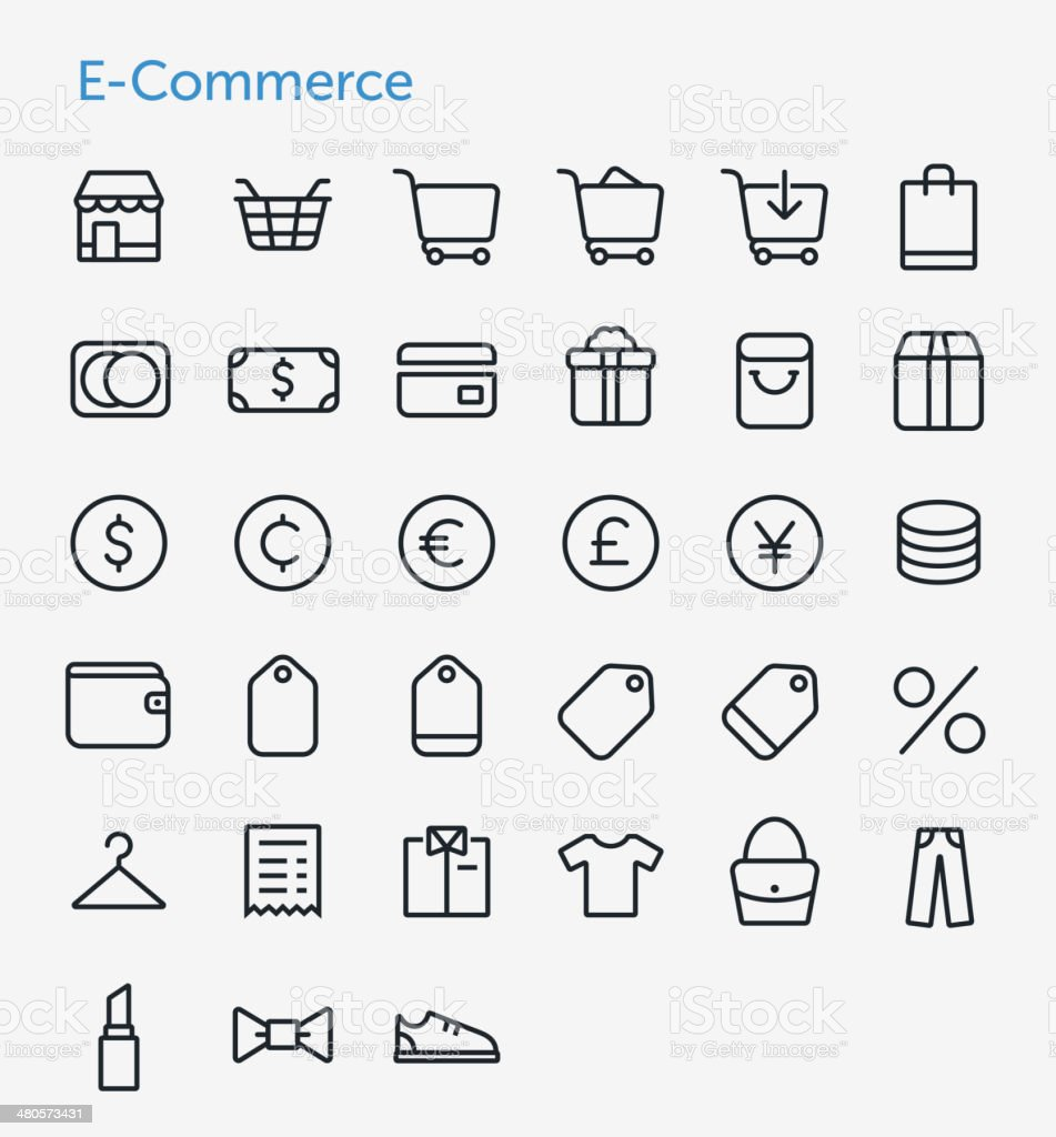 E-Commerce Icons Set vector art illustration