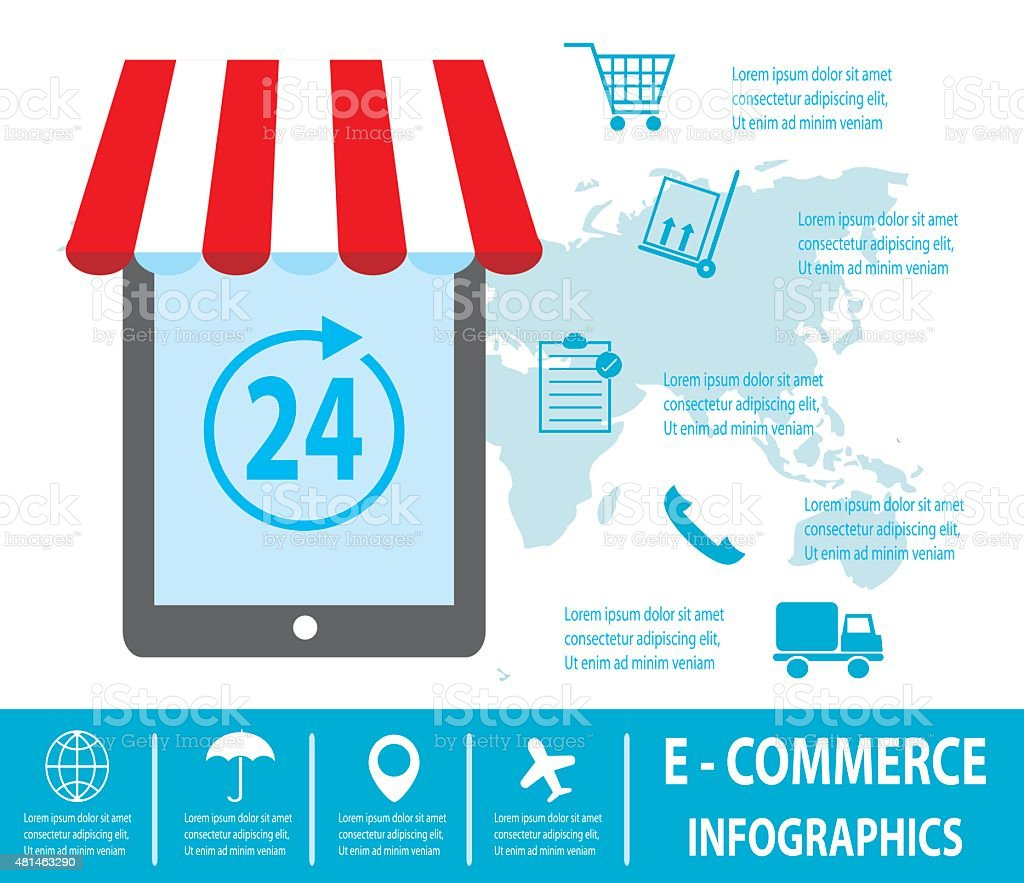 E-commerce infographics,  Business concept, Set icons, fast delivery service vector art illustration