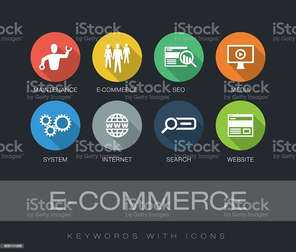 E-Commerce keywords with icons vector art illustration