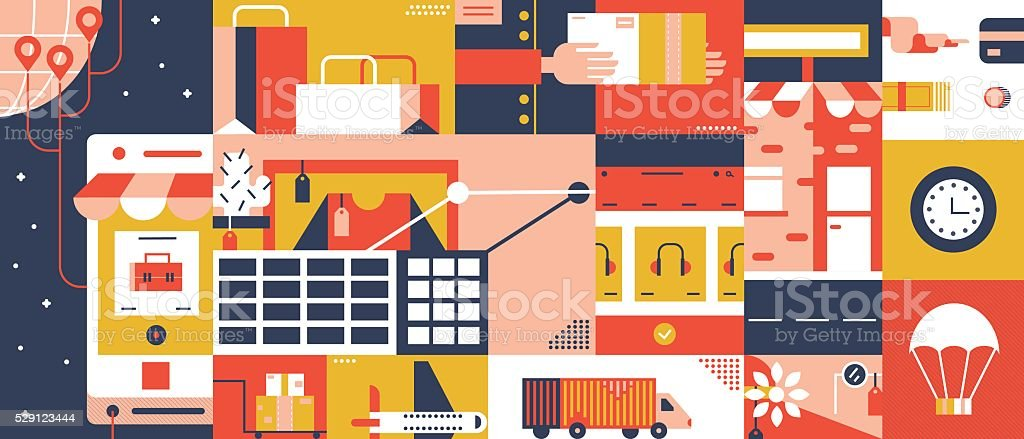E-commerce mobile shop online abstract background vector art illustration