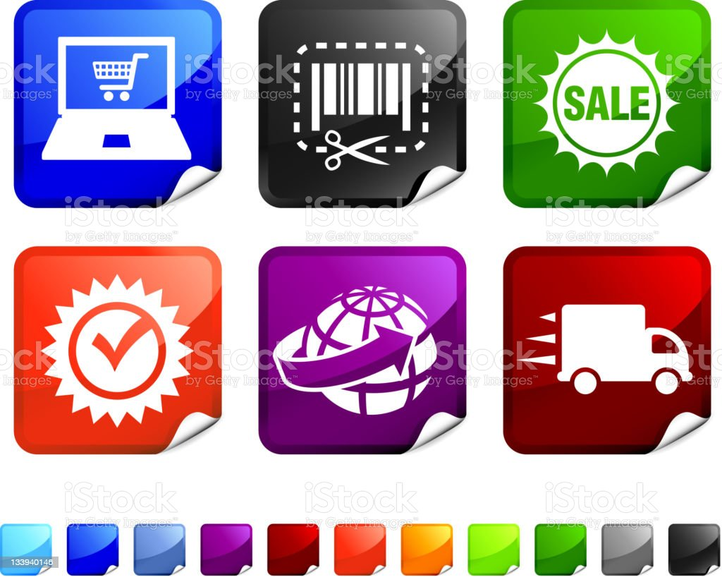 e-commerce royalty free vector icon set stickers royalty-free stock vector art