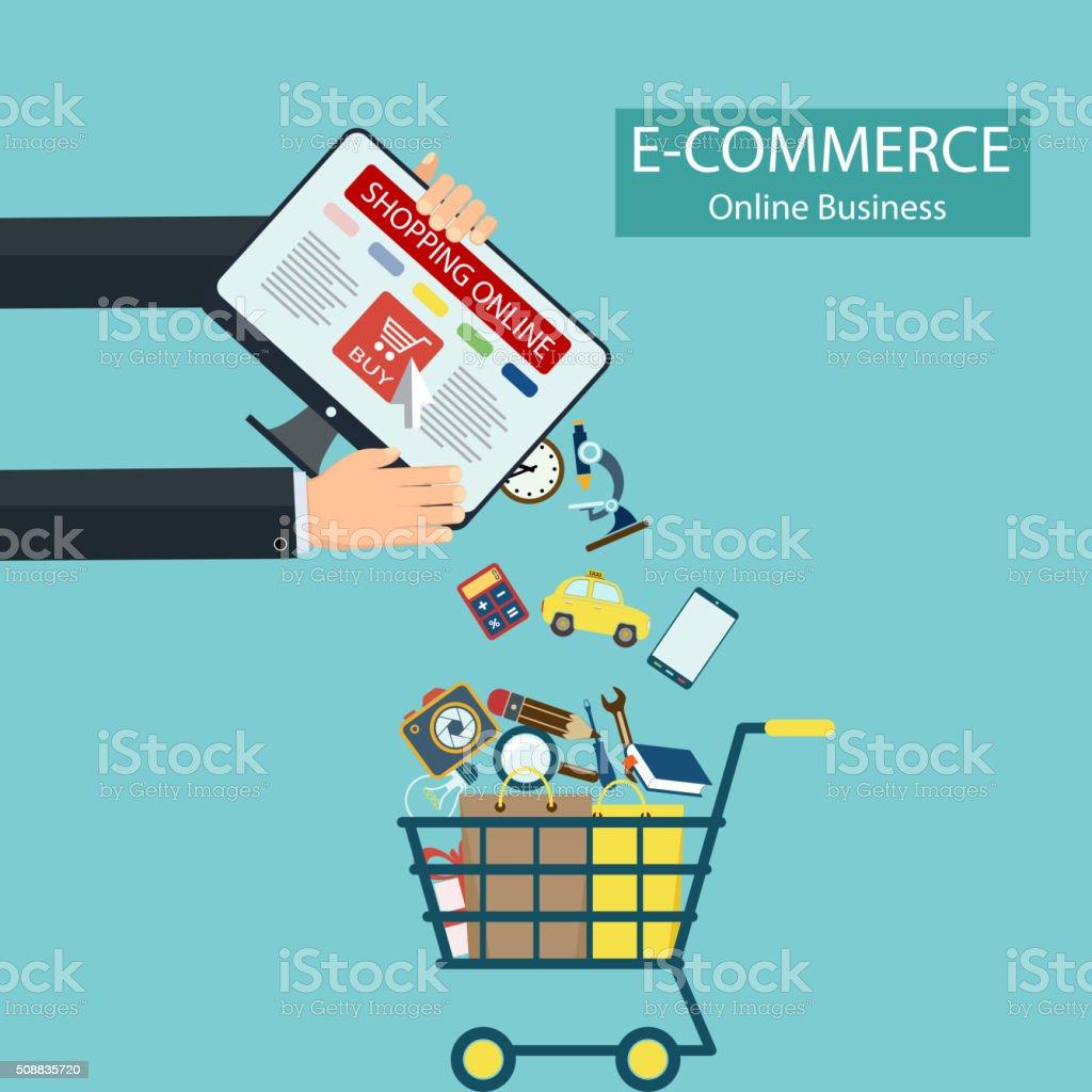 E-commerce. Shopping online. vector art illustration