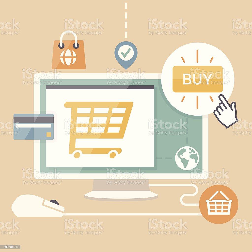 E-commerce shopping vector art illustration