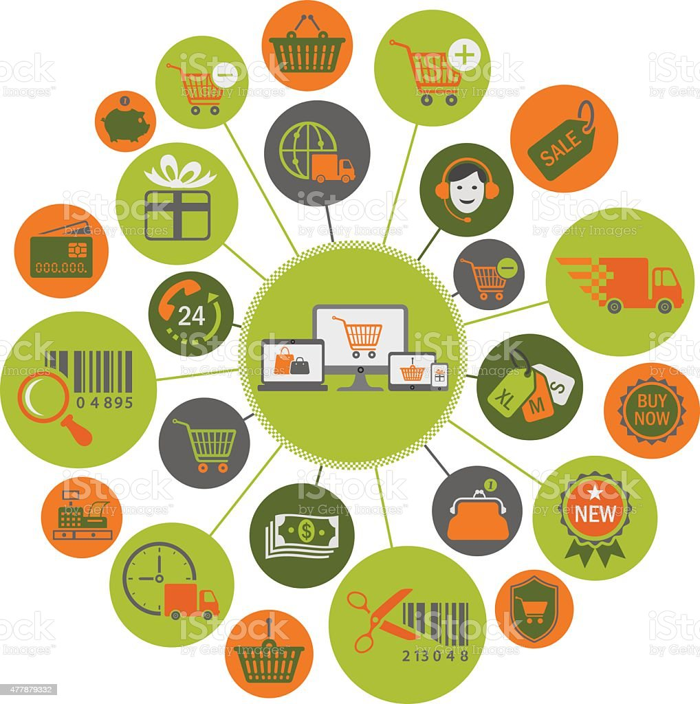 E-commerce System Icons vector art illustration