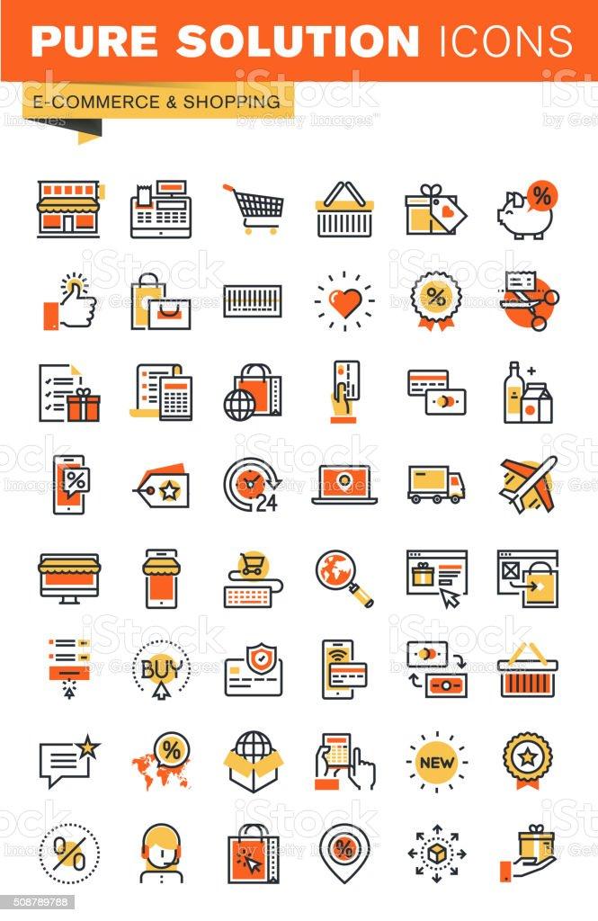 E-Comercio línea fina colección de iconos plana diseño de Web illustracion libre de derechos libre de derechos