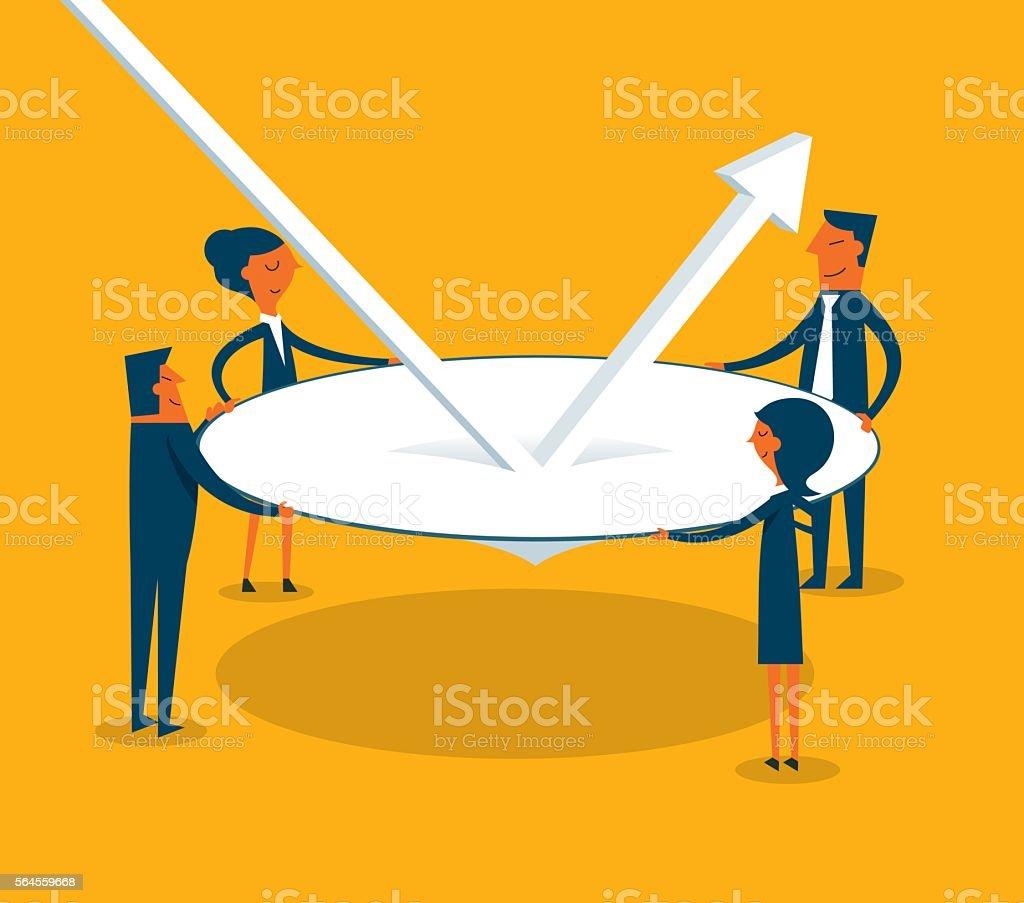 Economic bounce back vector art illustration