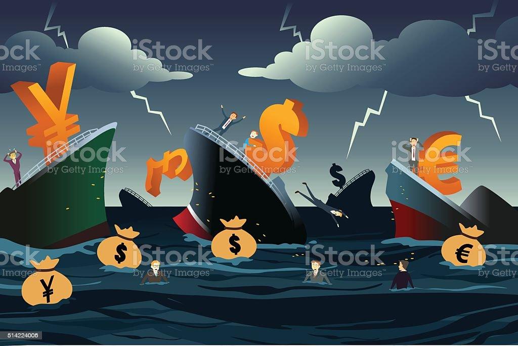 Economic Crisis Concept vector art illustration