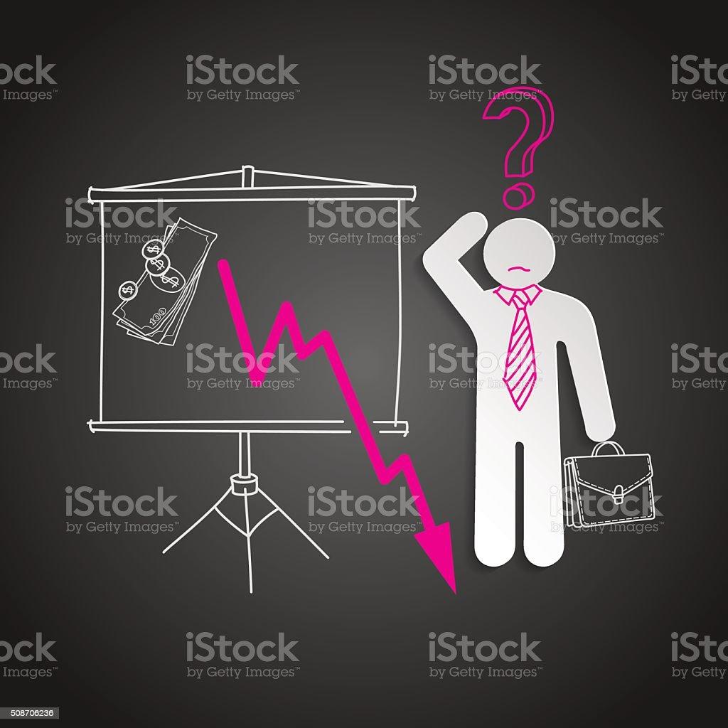 Crise económica. Confuso homem de negócios mostra caindo gráfico vetor e ilustração royalty-free royalty-free