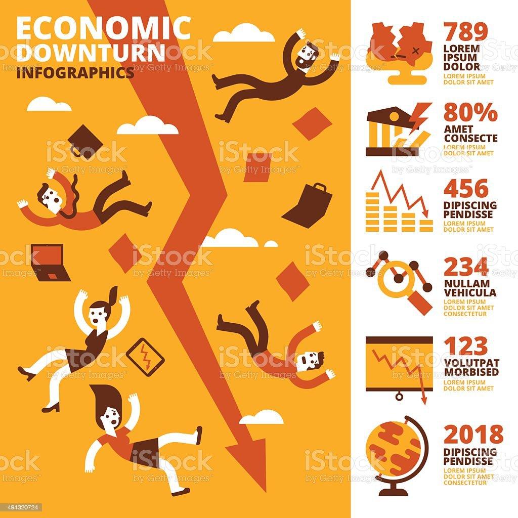 Economic Downturn Infographics vector art illustration