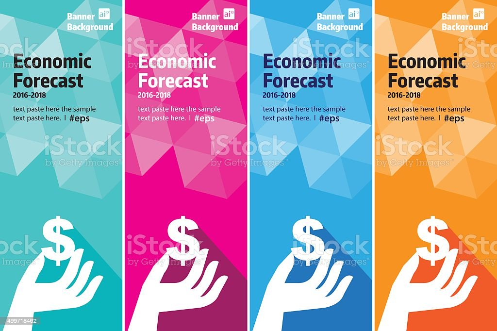 Economic Finance banner set vector art illustration