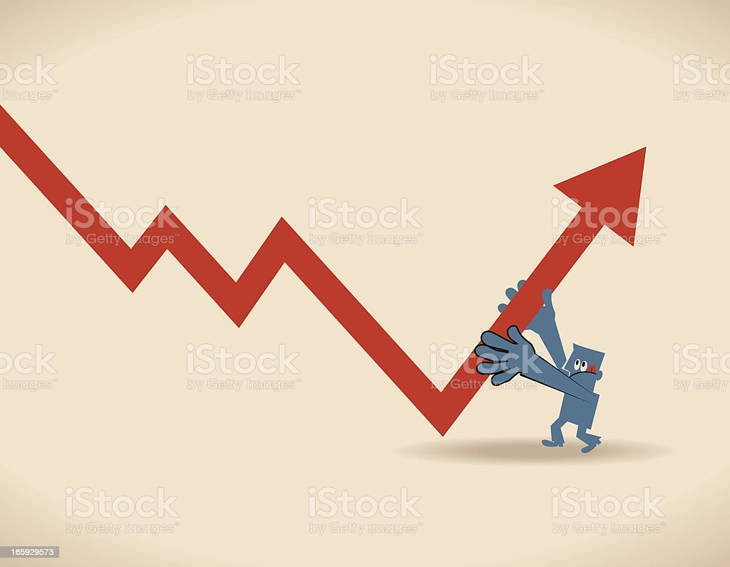 Economic Rebound Growth, businessman holding an arrow sign (moving up) royalty-free stock vector art