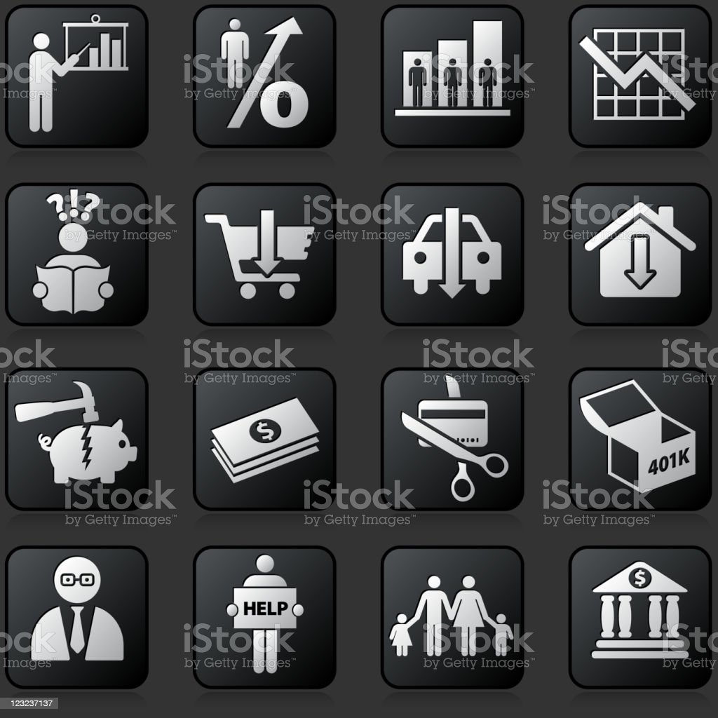 economic recession button set on a dark Background royalty-free stock vector art