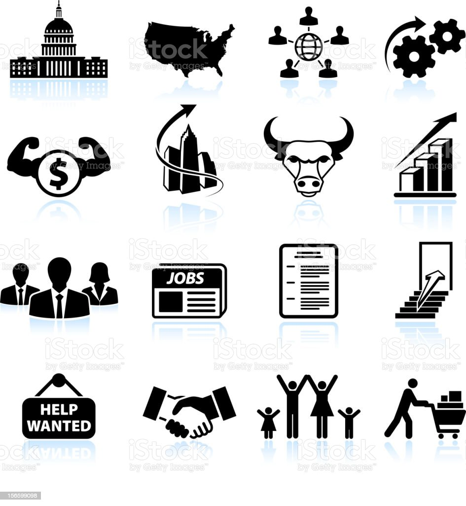 Economic recovery in America black & white vector icon set vector art illustration