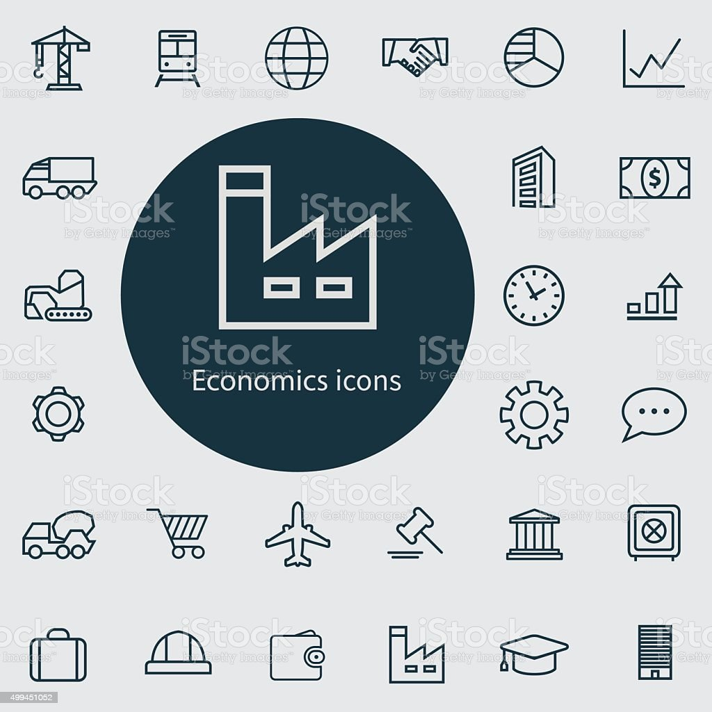 economics outline, thin, flat, digital icon set vector art illustration