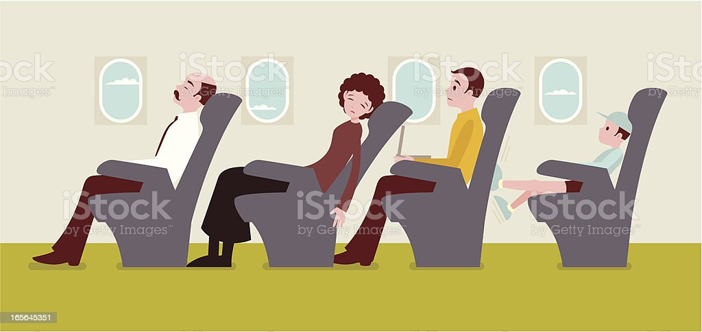 Economy class passengers on an airplane vector art illustration
