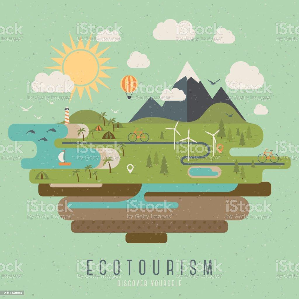 Ecotourism vintage style illustration vector art illustration