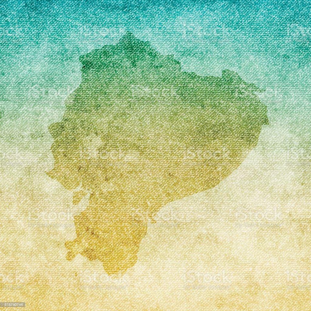 Ecuador Map on grunge Canvas Background vector art illustration