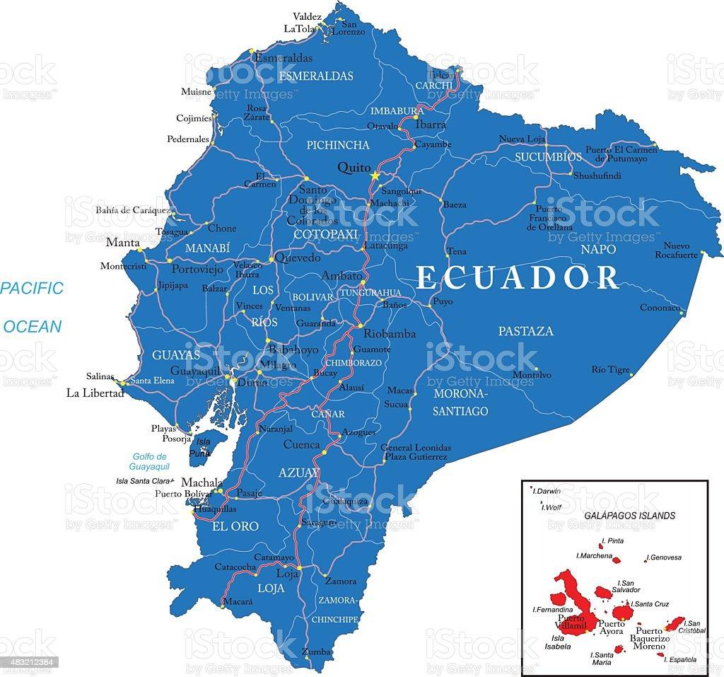 Ecuador map vector art illustration